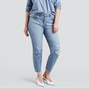 Levi's Wedgie Fit Button Fly Distressed Raw Hem
